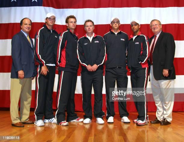 L to R Arlen Kantarian Chief Executive Professional Tennis Bob Bryan Andy Roddick Patrick McEnroe Mike Bryan James Blake Franklin Johnson President...
