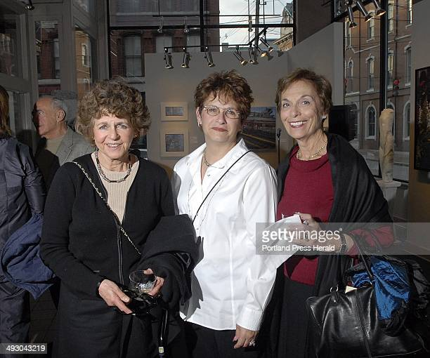 L to R Barbara Epstein of Portland Hedy Cohen of Cape Elizabeth and Jacke Robinov of Lakeworth Florida during the opening night reception of the...