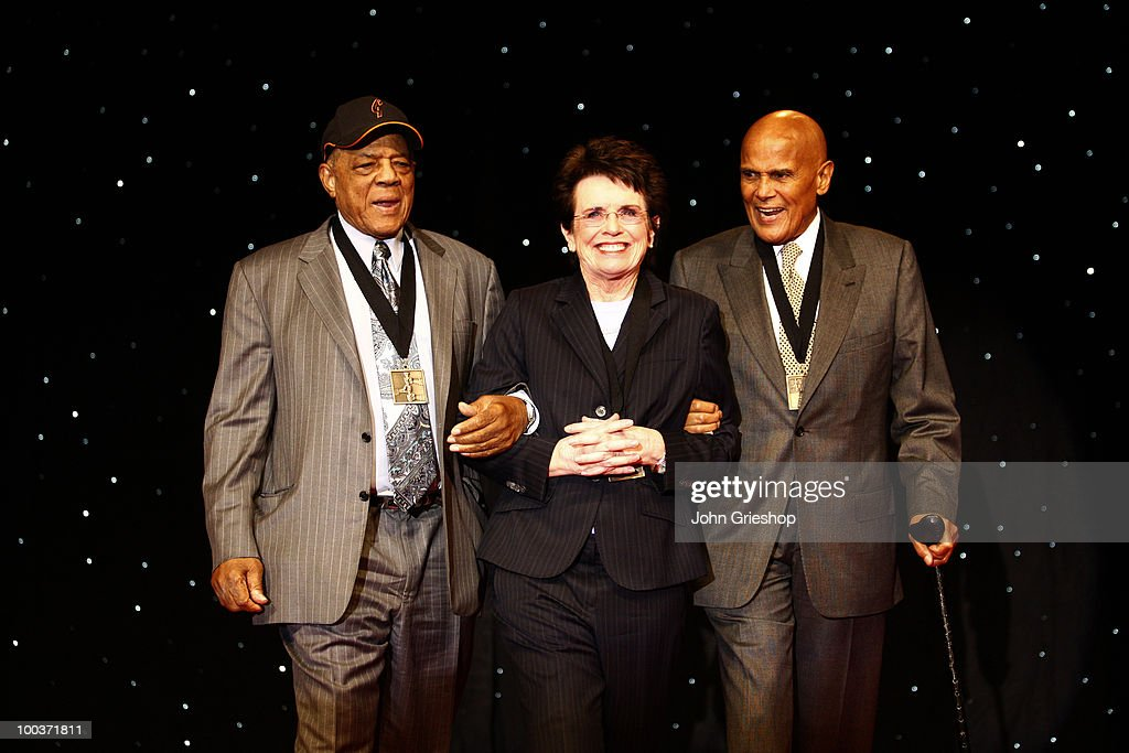 Beacon Award winners Willie Mays, Billie Jean King, Harry Belafonte are presented to the crowd during the MLB Beacon Awards Luncheon on Saturday, May 15, 2010, at the Duke Energy Center in Cincinnati, Ohio.