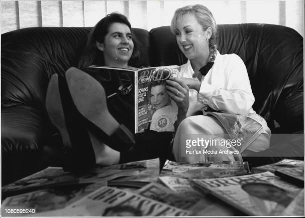 L to R Belinda Lees with good friend Katrina Venning look through bride magazines in Readyness for Belinda's up and coming weddingBelinda Lees is to...
