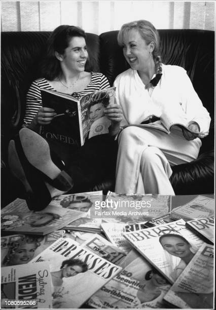 L to R Belinda Lees with good friend Katrina Venning look through bride magazines in Readyness for Belinda's up and coming wedding February 21 1994