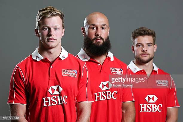 L to R Cameron Clark of Australia DJ Forbes of New Zealand and Tom Mitchell of England pose during a portrait session ahead of the 2015 HSBC...
