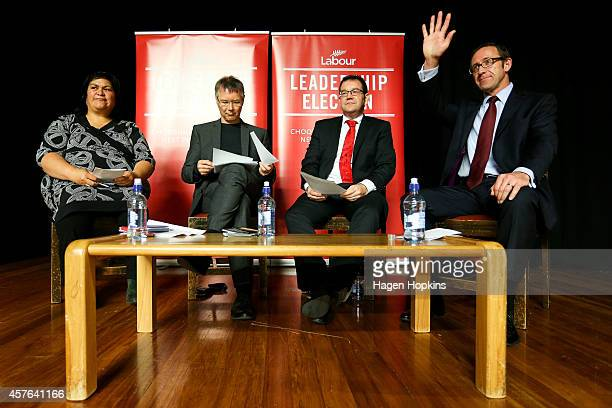 L to R Candidates Nanaia Mahuta David Parker Grant Robertson and Andrew Little look on during the Labour leadership election husting at Wellington...