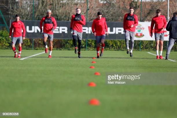 L to R Cedric Mario Lemina Matt Targett Alfie Jones Dusan Tadic and Jack Stephens of Southampton FC during a training session at the Staplewood...