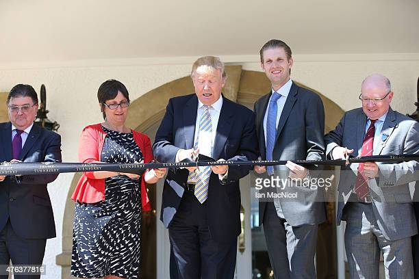 L to R Chic Brodie MSP Local Councillor Eileen Hewitt Donald Trump Eric Trump and Clive Douglas Director of Golf at Turnberry attend Turnberry Golf...