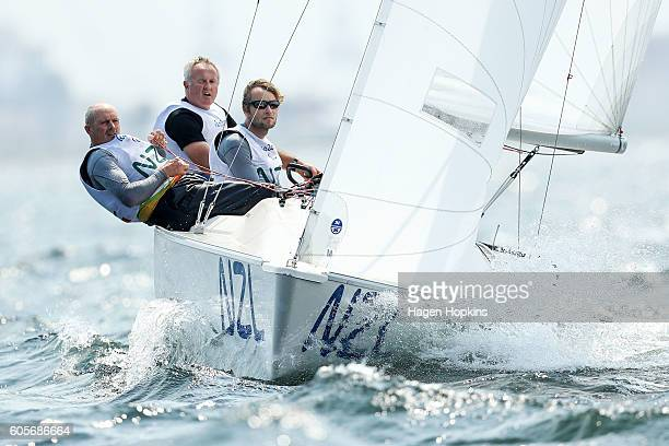 L to R Chris Sharp Richard Dodson and Andrew May of New Zealand compete in race 4 of the ParaSailing Sonar class on day 7 of the Rio 2016 Paralympic...