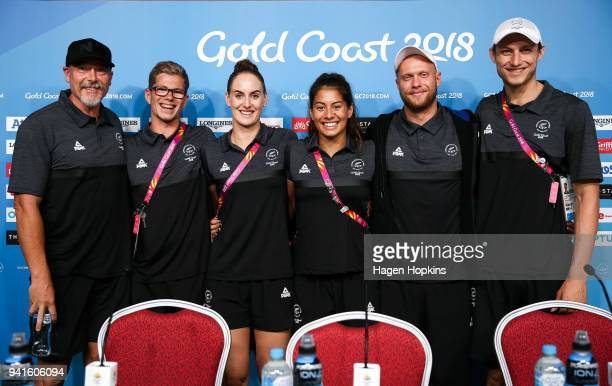L to R Coach Simon Mayne Jesse Reynolds Carina Doyle Bronagh Ryan Corey Main and Bradlee Ashby pose during a New Zealand swimming team press...