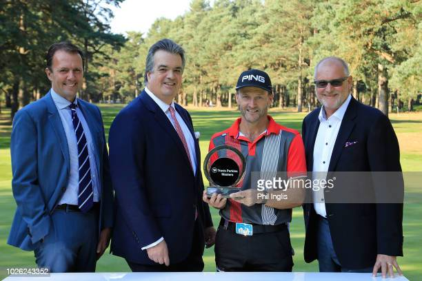 L to R David MacLaren Head of Staysure Tour His Grace the Duke of Bedford Philip Golding of England and John Carter CEO Travis Perkins plc in pose...