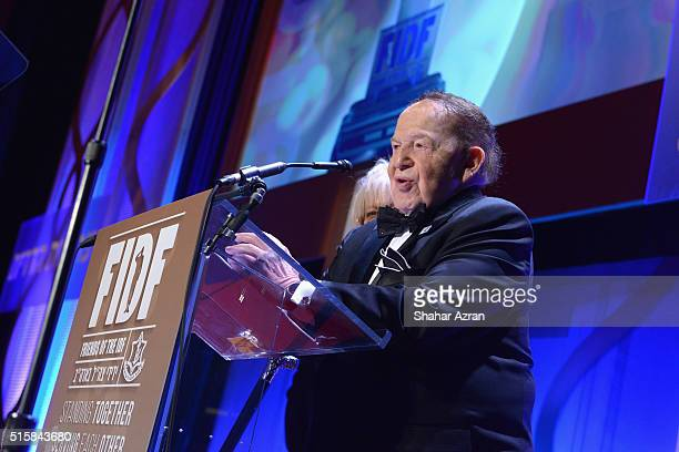 L to R Dr Miri Adelson and Sheldon Adelson address the 2016 Friends Of The Israel Defense Forces Gala at The Waldorf Astoria on March 15 2016 in New...