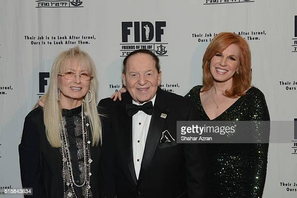 L to R Dr Miri Adelson Sheldon Adelson and Liz Claman FOX Business Network attend the 2016 Friends Of The Israel Defense Forces Gala at The Waldorf...