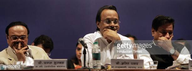 L to R DyChief Minister of Maharastra Ajit pawar Chief Minister of Maharastra Prithviraj Chavan and Industry Minister Narayan Rane in the open house...