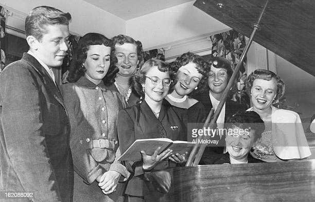 JUL 12 1951 L to R Earl Ness of Drayton ND Joanne Ulbick of Aneta ND Marjory Jacobsen of Rolla ND Adele Stewart of Angus Minn Marian Rohde of Valley...