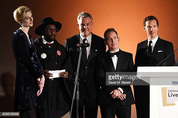 L to R Elizabeth Debicki william Danny Huston Tom Hollander and Benedict Cumberbatch attend as PORTER hosts a special performance of Letters Live in...