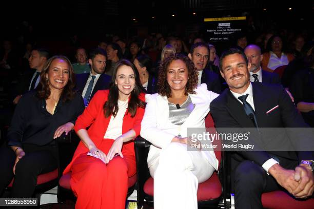 To R, Former Black Fern, New Zealand Rugby Board Member and World Rugby Hall of Fame Inductee, Farah Palmer, New Zealand Prime Minister, Jacinda...