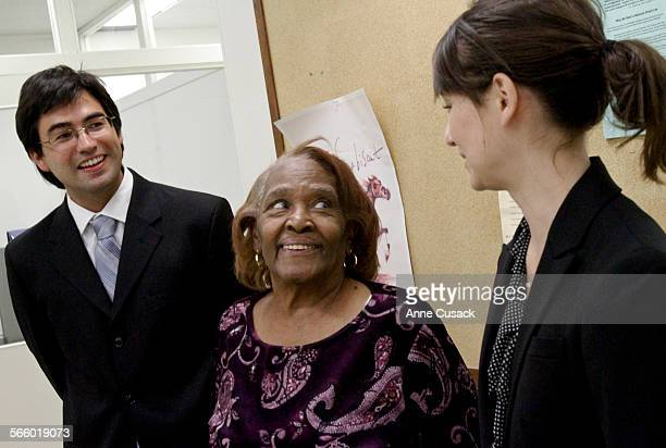 To R Gabriel Martinez ,Lois Taylor and Stanford law student Reiko Rogozen answer questions after a Habeas Corpus hearing for Gregory Taylor at the...