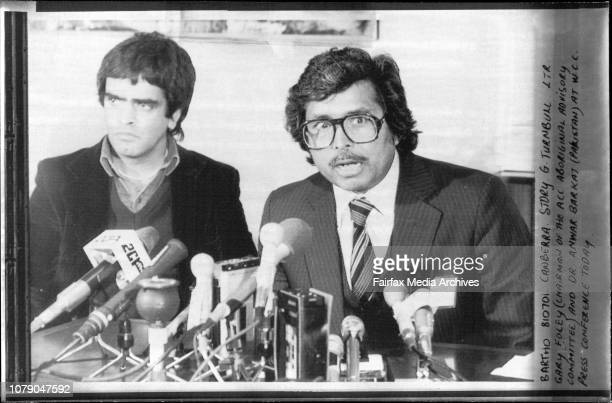 Gary Foley and Dr Anwar Barkat at W C C Press Conference today July 01 1981