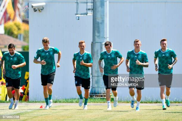 L to R Germany's defender Marvin Plattenhardt Germany's defender Matthias Ginter Germany's defender Joshua Kimmich Germany's midfielder Sebastian...