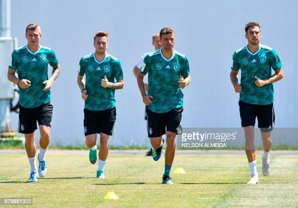 L to R Germany's midfielder Toni Kroos Germany's forward Marco Reus Germany's forward Thomas Mueller and Germany's midfielder Leon Goretzka take part...