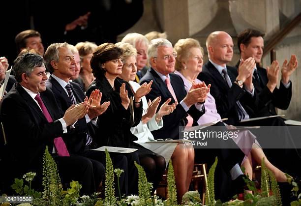 To R, Gordon Brown, Tony Blair, Cherie Blair, Norma Major, John Major, Margaret Thatcher, William Hague and Nick Clegg applaud Pope Benedict XVI at...