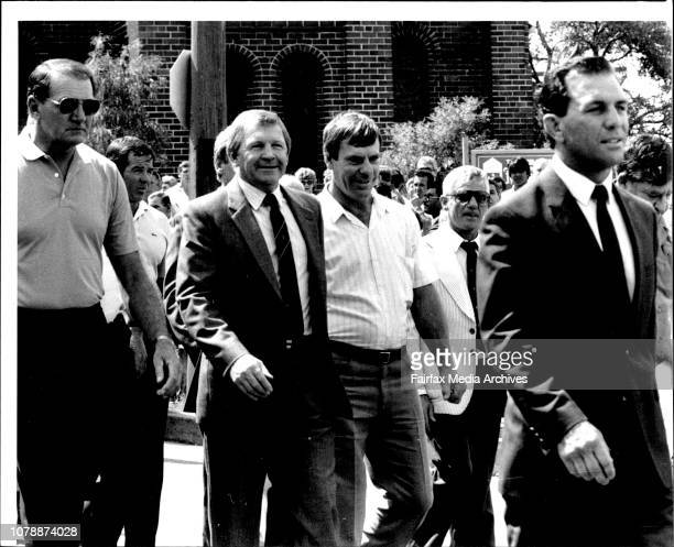 L to R Gordon Fraser Frank Stanton Bob Moses Mick Falla foreground John Sattler Funeral of former South Sydney fullback Kevin Longbottom was held...