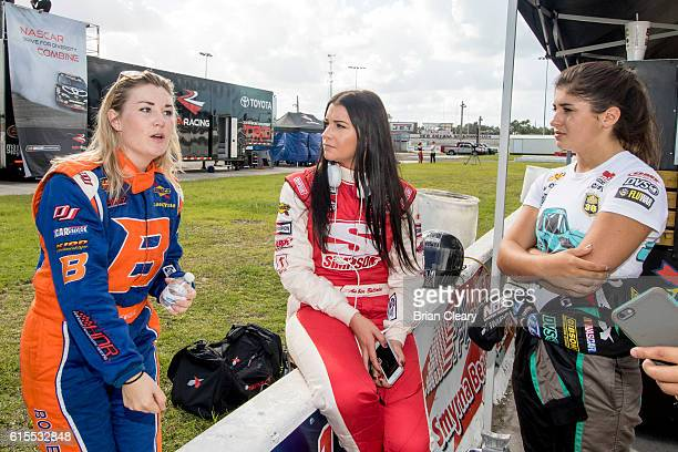 L to R Hannah Newhouse Amber Balcaen and Hailie Deegan talk during the NASCAR DRive for Diversity Developmental Program at New Smyrna Speedway on...