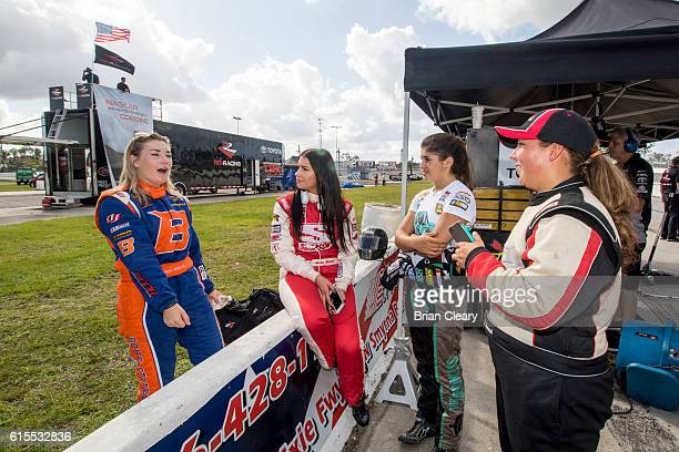 L to R Hannah Newhouse Amber Balcaen Hailie Deegan and Hope Hornish talk during the NASCAR DRive for Diversity Developmental Program at New Smyrna...