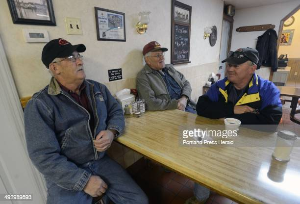 To R, Harold Jackson, Wallace Bouchard and Tom Lozier of Fort Kent talk at Rock's Family Diner in Ft. Kent Friday morning, November 9, 2012.