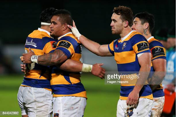 L to R Henry Stowers Siegfried Fisi'ihoi Joe Webber and Terrence Hepetema of Bay of Plenty celebrate the win during the round four Mitre 10 Cup match...