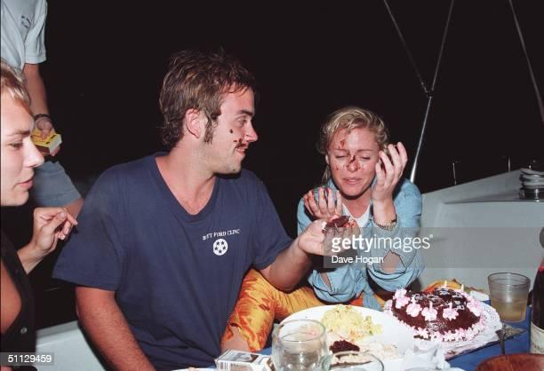 L to R Jackie Hamilton Smith singer Robbie Williams and Patsy Kensit celebrate Patys's birthday in Barbados