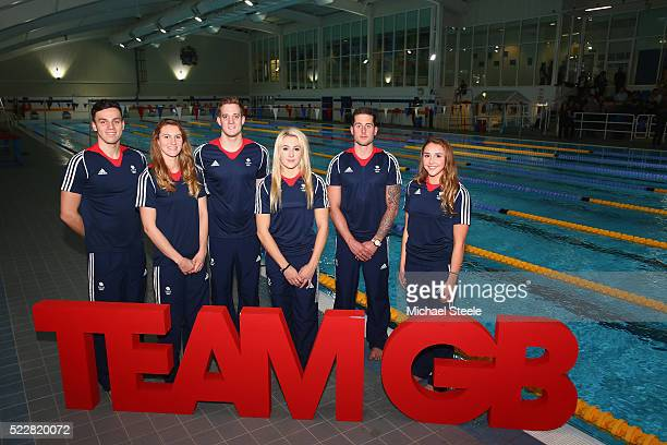 To R: James Guy, Jazz Carlin, Andrew Willis, Siobhan-Marie O'Connor, Chris Walker-Hebborn and Chloe Tutton pose for a group photograph during the...
