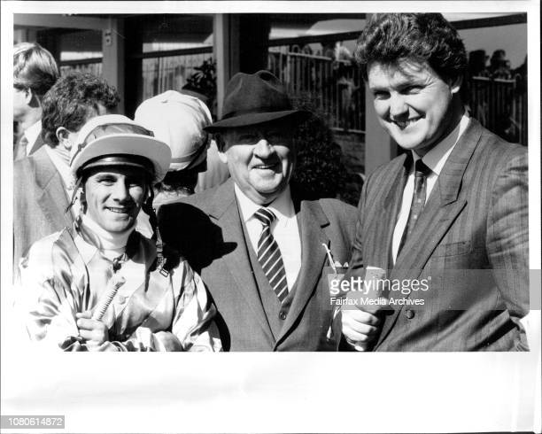 Warwick Farm Race 1L to R Jockey J Marshall Sir Clyde Kennedy amp Anthony Cummings August 6 1988