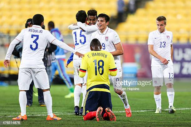 L to R John Requejo Jr Marco Delgado Gedion Zelalem Rubio Rubin and Thomas Thompson of USA celebrate the win while Carlos Ibarguen of Colombia shows...