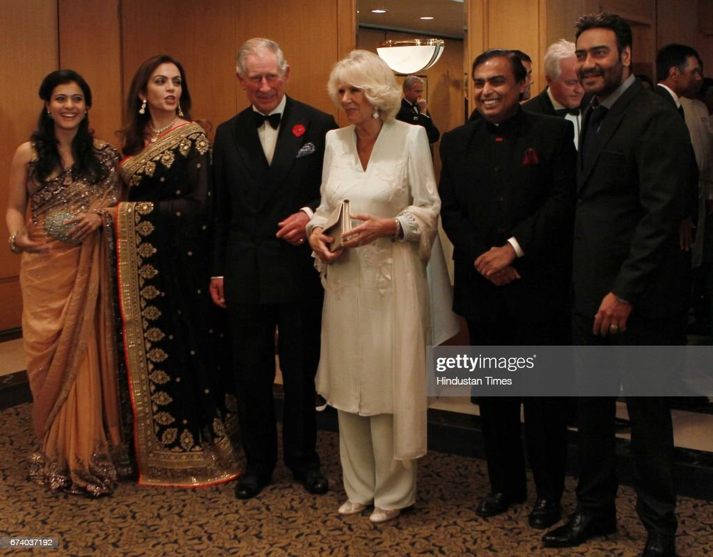 L to R Kajol Devgan Nita Ambani Prince Charles and Camilla Mukesh Ambani and Ajay Devgan during the British Asian Trust India Advisory Dinner at...