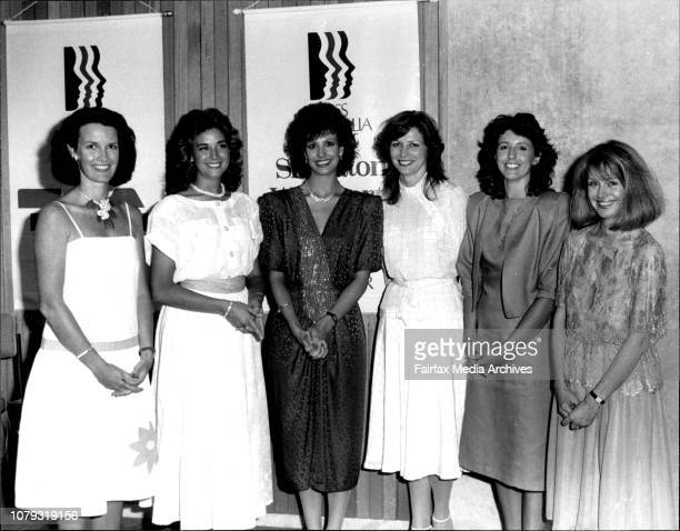 L To R Kerry Doyle MaryAnn Kozhjak Maria Ridley and Rhonda HorsleyMiss Australia Quest Launching at Qantas House Sydney January 29 1985