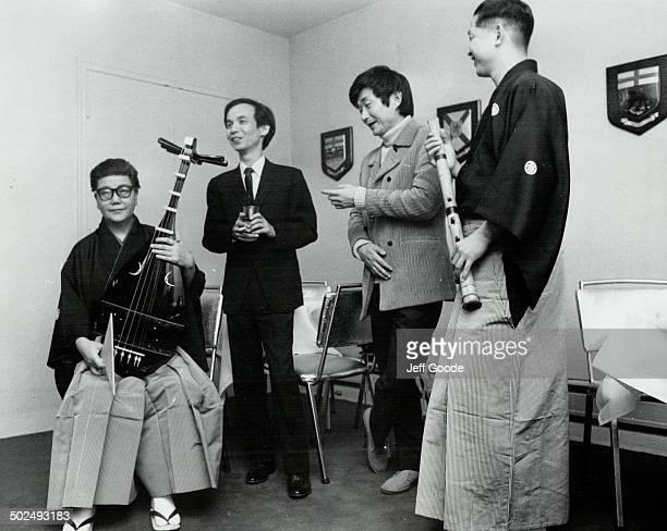 L to R Kinshi Tsuruto Biwa Torv Takkemitsu composer Seiji Ozawa Conductor Katsuya Yokoyama Shakuhachi