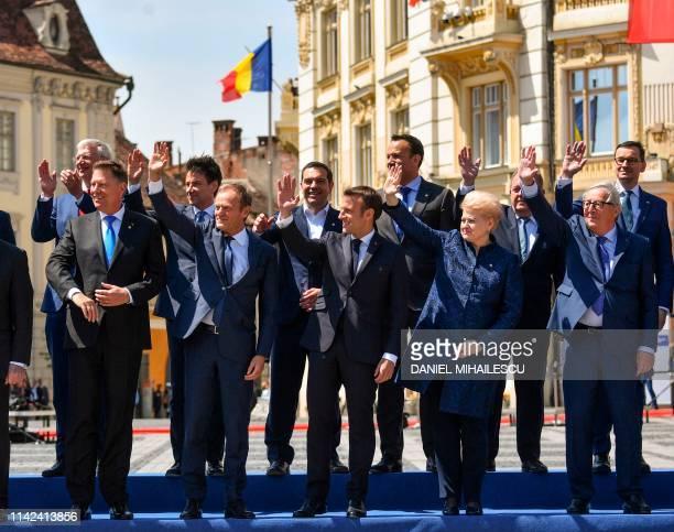 L to R Latvia's Prime Minister Krisjanis Karins Romania's President Klaus Iohannis Italian Prime Minister Giuseppe Conte European Council President...