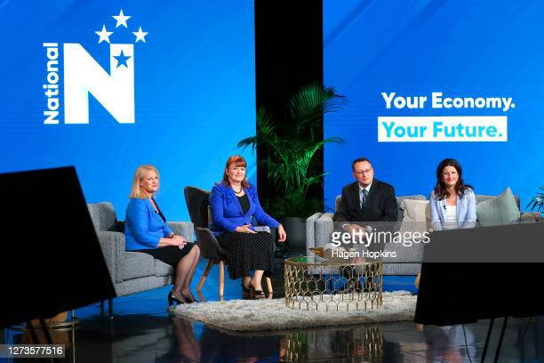 To R, Louise Upston, Maggie Barry, Shane Reti, and Nicola Willis look on during the Virtual National Party 2020 Campaign Launch at Avalon Studios on...