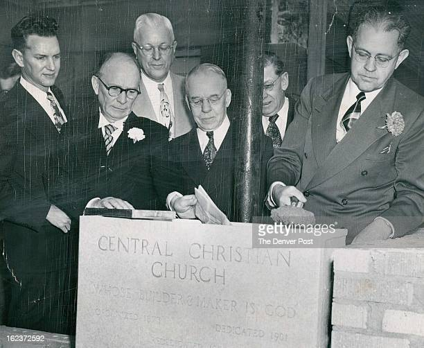 JAN 7 1952 L to R Lyle M Bailey chairman of the church building committee The Rev Kelly O'Neall pastor of the church Robert Peterson chairman of the...