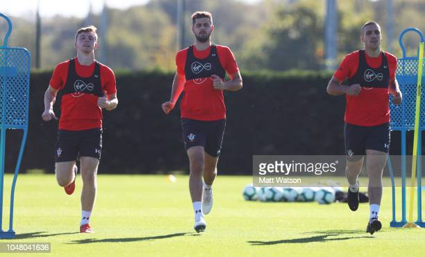 L to R Matt Targett Jack Stephens and Oriol Romeu during a Southampton FC training session at the Staplewood Campus on October 9 2018 in Southampton...