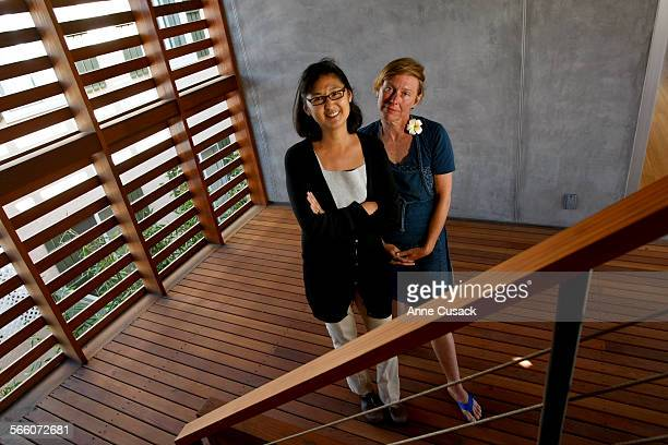 L to R Maya Lin and owner of the home Christine Nichols pose for a portrait in the breezeway the first West coast home designed by artist and Vietnam...