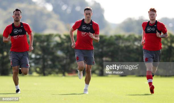 L to R Maya Yoshida Florin Gardos and Will Wood during a Southampton FC training session at the Staplewood Campus on September 19 2017 in Southampton...
