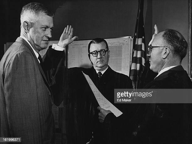 DEC 31 1957 JAN 1 1958 OCT 21 1962 L to R Mayor Nicholson Judge Gerald E McAuliffe Judge David Brofman