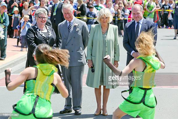 L to R Mayor of Manawatu District Margaret Kouvelis Prince Charles Prince of Wales Camilla Duchess of Cornwall Rangitikei MP Ian McKelvie watch...