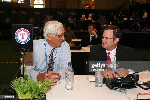 To R: Mel Didier and Jim Sundberg of the Texas Rangers talk during the 2007 First-year player draft at The Milk House in Disney's Wide World of...