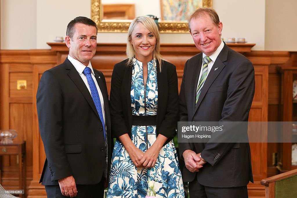L to R, Michael Woodhouse, Nikki Kaye and Nick Smith pose after a swearing-in ceremony at Government House on January 31, 2013 in Wellington, New Zealand. After a recent Cabinet reshuffle by Prime Minister John Key, Dr Nick Smith was appointed Minister of Housing, Nikki Kaye was appointed Minister for Food Safety, Youth Affairs and Civil Defence while Michael Woodhouse was appointed as a Minister, outside of Cabinet, for Immigration and Veterans Affairs.