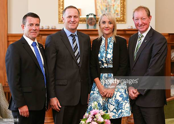 L to R Michael Woodhouse Prime Minister John Key Nikki Kaye and Nick Smith pose after a swearingin ceremony at Government House on January 31 2013 in...