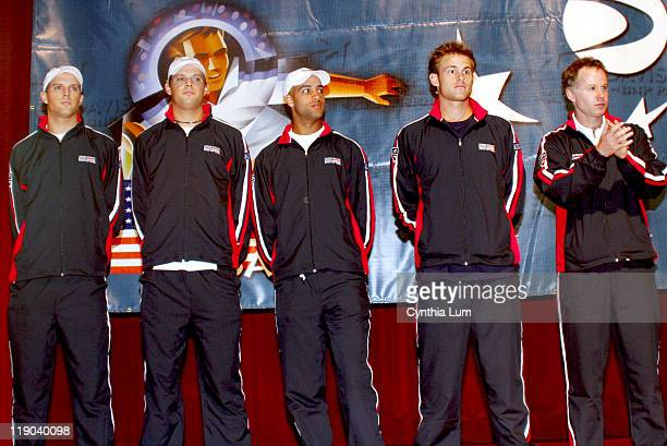 L to R Mike Bryan Bob Bryan James Blake Andy Roddick Captain Patrick McEnroe The USTA held the Draw Ceremony for the Davis Cup by BNP Paribas first...