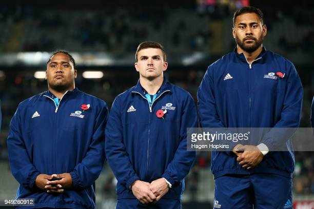 L to R Mike Tamoaieta Bryn Gatland and Patrick Tuipulotu of the Blues look on during the round 10 Super Rugby match between the Blues and the...