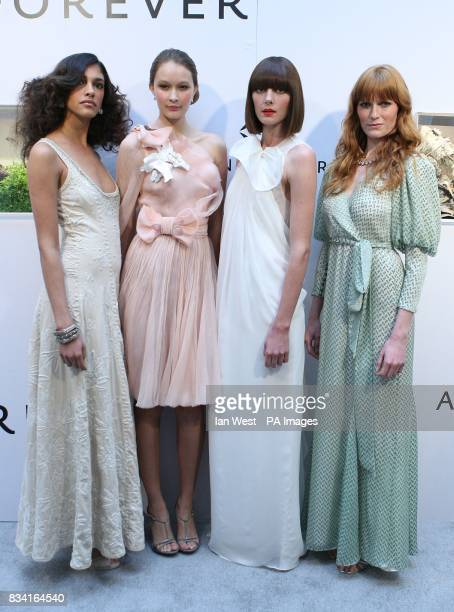 L to R Model wearing Alabama Chanin dress with Munnu jewelry Model wearing Rodarte dress with Van Cleef jewelry Model wearing Phillip Lim dress with...