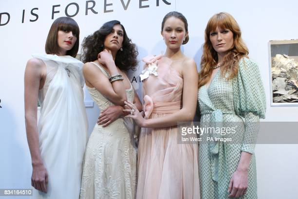 L to R Model wearing Phillip Lim dress with Cartier jewelry Model wearing Alabama Chanin dress with Munnu jewelry Model wearing Rodarte dress with...